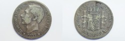World Coins - Spain Silver Peseta 1885  VF