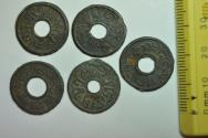 World Coins - Neth. East Indies, Sumatra Palembang Sultanate; Undated, Uniface Tin Pitis - 5 Coins Lot
