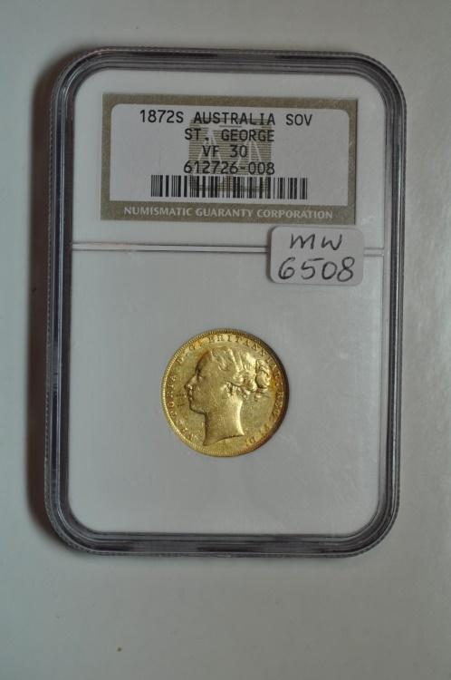 World Coins - Australia; Gold Sovereign 1872 S  NGC VF30