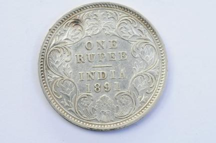 World Coins - India British Silver Rupee 1891  XF