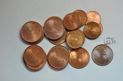 World Coins - Somalia; Centesimo & 5 Centesimi AH1369 - 1950AD BU  - 20 coins of each