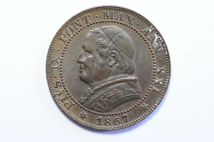 World Coins - Papal States Soldo 1867 R   AU