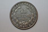 World Coins - Costa Rica; Silver 25 Centimos 1924  VF