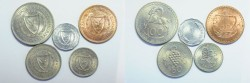 World Coins - Cyprus Set of 5 Coins 1, 5, 25, 50, 100 Mills  1963  UNC
