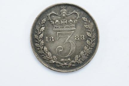 World Coins - Great Britain Silver 3 Pence 1883  UNC - Proof Like