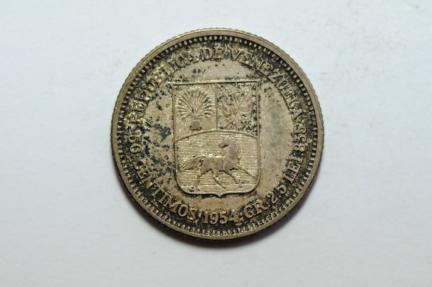 World Coins - Venezuela Silver 50 Centimos 1954  AU