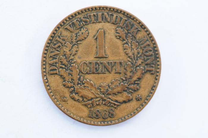 World Coins - Danish West Indies Cent 1868  VF+