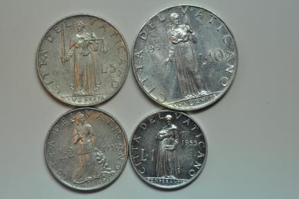 World Coins - Vatican City;  4 Coins Set: Lira-1953, 2 Lire-1951, 5 Lire1952 & 10 Lire-1951   BU