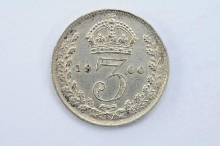 World Coins - Great Britain 3 Pence 1900  AU