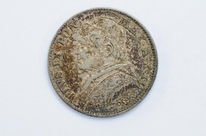 World Coins - Papal States Silver 5 Soldi 1866 R   VF/XF