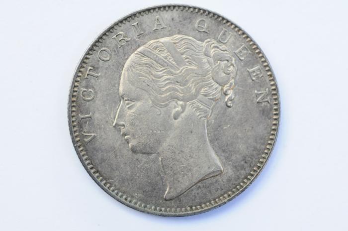World Coins - British India Silver Rupee 1840  XF+