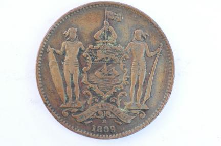 World Coins - British North Borneo Cent 1889 H  VF+