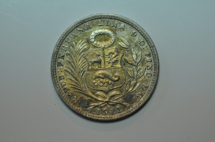World Coins - Peru; Silver 1/5 Sol 1912 FG   UNC