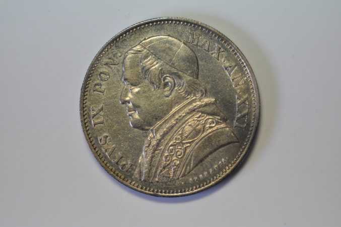 World Coins - Papal States; Silver 2 Lire  1867 R Anno XXI    XF