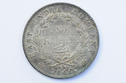 World Coins - British India Silver Rupee 1840  XF+