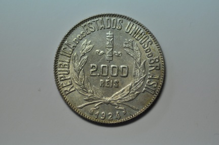 World Coins - Brazil;  Silver 2,000 Reis 1924  UNC