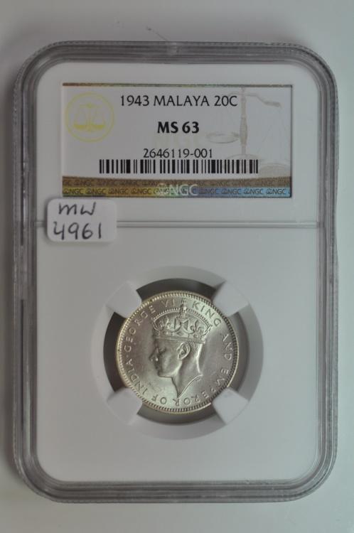 World Coins - Malaya; Silver 20 Cents 1943  NGC MS63