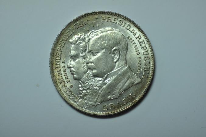 World Coins - Brazil;  Silver 2,000 Reis nd -1922  Independence Centennial   AU