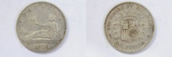 World Coins - Spain Silver Peseta 1870 DE-M VF+
