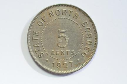 World Coins - British North Borneo 5 Cents 1927 H  VF