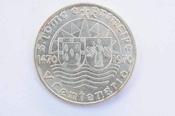 World Coins - Saint Thomas & Prince Silver 50 Escudos 1970 UNC