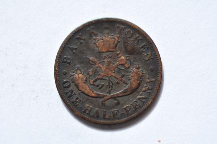 World Coins - Canada; Bank of Upper Canada Token - 1/2 Penny 1857