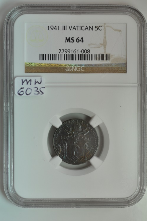 World Coins - Vatican; 5 Centesimi 1941 Anno III  NGC MS64   Mintage: 5,000