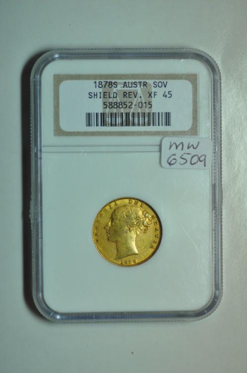 World Coins - Australia; Gold Sovereign 1878 S  NGC XF45