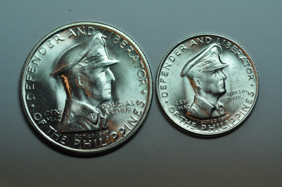 World Coins - Philippines; Silver Peso & 50 Centavos Set  1947S  BU