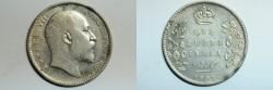 World Coins - India British Silver Rupee 1907 (c)  VF
