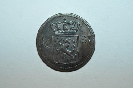World Coins - Netherlands East Indies - Sumatra; 1/4 Stuiver 1826 S   AU/UNC
