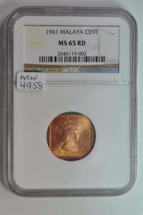 World Coins - Malaya & British Borneo; Cent 1961  NGC MS65