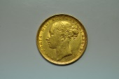 World Coins - Australia; Gold Sovereign 1884 S  - St. George -  UNC.