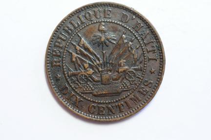 World Coins - Haiti 10 Centimes 1863  VF+