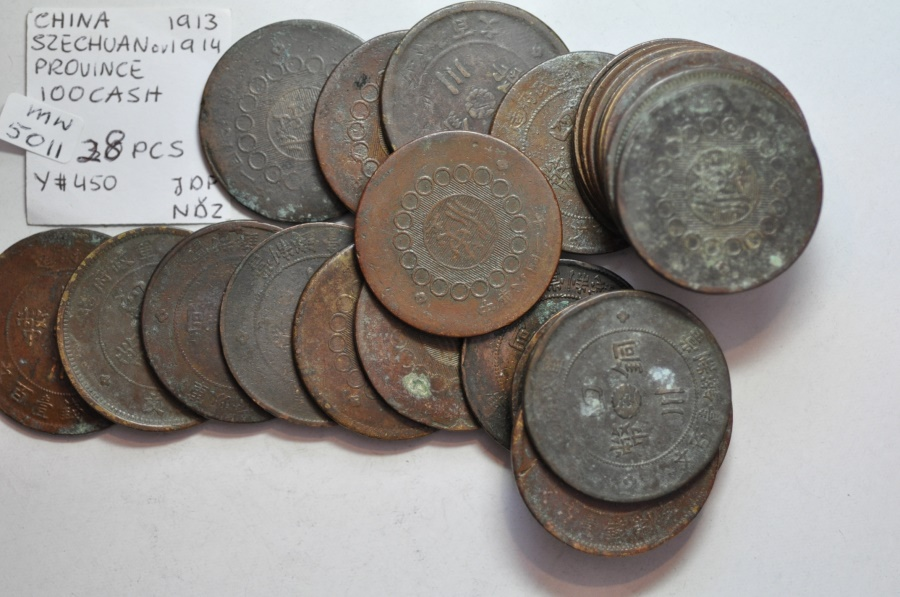 World Coins - China, Szechuen Province; 100 Cash - Year 2 - 1913  Lot of 28 circulated coins