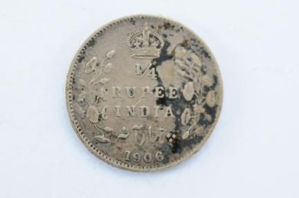World Coins - India British  1/4 Rupee 1906 (c)  VF