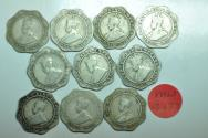 World Coins - British India; Lot of 10 Coins  - 4 Annas 1920  Circulated condition
