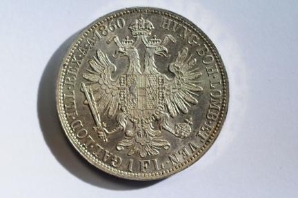World Coins - Austria Silver Florin 1860 A  UNC