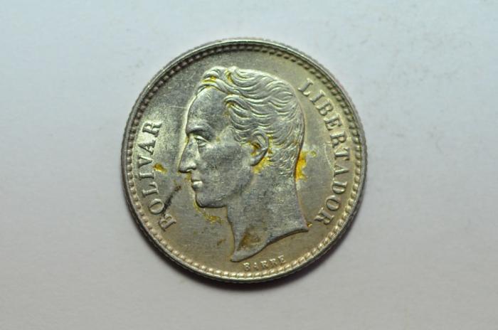 World Coins - Venezuela Silver 50 Centimos 1954  UNC