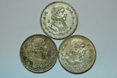 World Coins - Mexico; Peso - 3 coins lot 1958, 1963, 1966  - 0.100 Silver