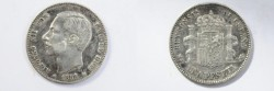 World Coins - Spain Silver Peseta  1882 MS-M  VF/XF