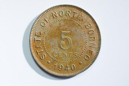World Coins - British North Borneo 5 Censt 1940 H  XF