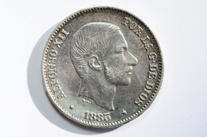 World Coins - Philippines, Spanish Colony Silver 50 Centimes 1885/3  XF