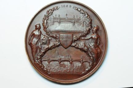 World Coins - Great Britain Opening of Blackfriars Bridge and Holbom Viaduct bronze medal 1869   AU