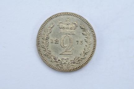 World Coins - Great Britain Silver 2 Pence 1875  UNC - Proof Like