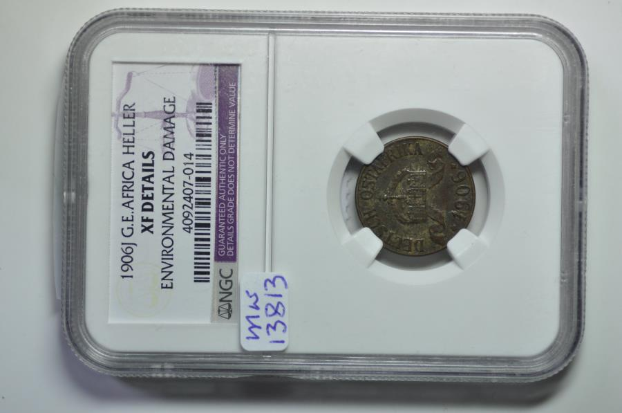 World Coins - German East Africa; Heller 1906 J   NGC XF Details