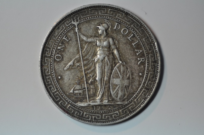 World Coins - Great Britain; Silver Trade Dollar 1902 B  toned XF