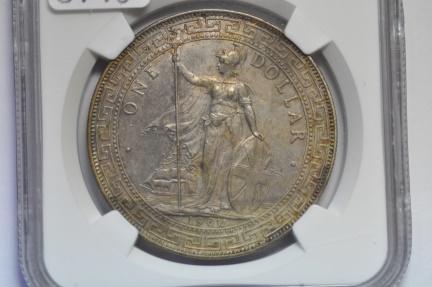 World Coins - Great Britain; Silver Trade Dollar 1900B  NGC AU58