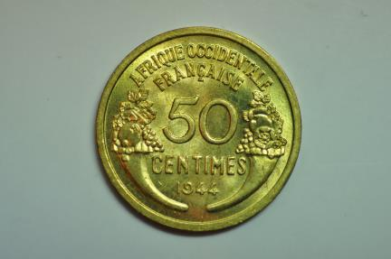 World Coins - French West Africa & Togo; 50 Centimes 1944 (L)  BU - Rare !
