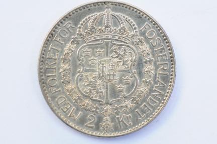 World Coins - Sweden 2 Kroner 1924 W  XF